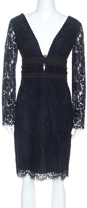 Diane von Furstenberg Midnight Blue Lace Long Sleeve Viera Dress M