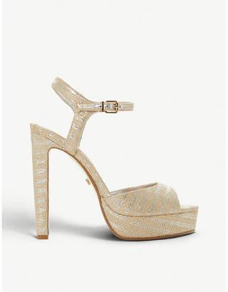 Dune Morrell metallic-stripe platform sandals