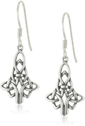 Celtic Sterling Silver Oxidized Knot Drop Earrings