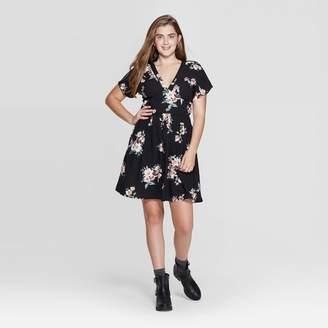 Xhilaration Women's Floral Print Short Sleeve Button-Front Deep V-Neck Mini Dress - XhilarationTM Black