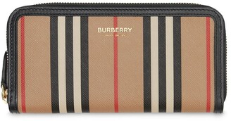 Burberry Icon stripe E-canvas and leather zip-around wallet