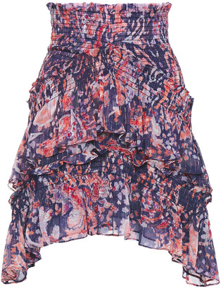 IRO Pampala Tiered Metallic Printed Crepon Mini Skirt