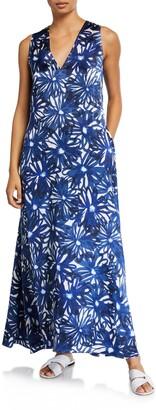 MARIE FRANCE VAN DAMME V-Neck Floral-Print Long Coverup Dress