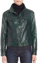 Frame Cropped Leather Jacket