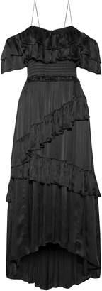 Ulla Johnson Cold-shoulder Tiered Silk-satin Midi Dress