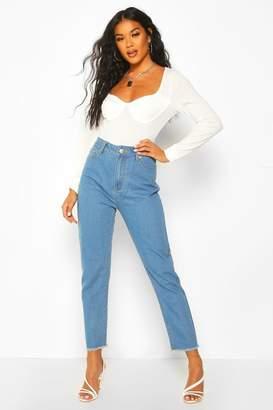boohoo High Rise Frayed Hem Straight Leg Jean