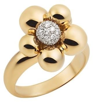MARINA B 18K Yellow Gold & Diamond Pave Ring