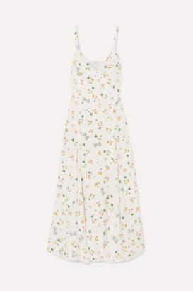 Racil Ava Floral-print Silk Crepe De Chine Midi Dress - White