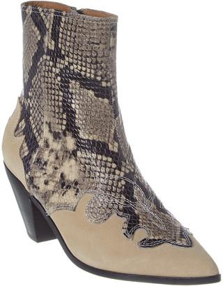 Joie Rafa Snake-Embossed Leather Bootie