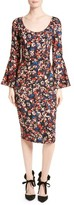 Tracy Reese Women's Print Stretch Silk Bell Sleeve Dress