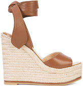 Paul Andrew wedge sandals - women - Raffia/Leather/rubber - 36