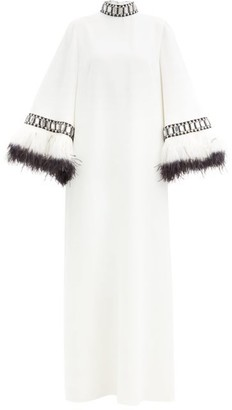 Andrew Gn Feather-trimmed Crystal-embellished Crepe Gown - Ivory