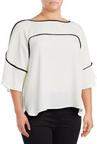 Calvin Klein Plus Flutter Sleeve Piped Blouse