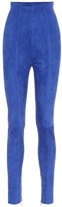 Balmain High-rise suede leggings