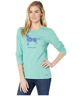 Life is Good Oh My God Long Sleeve Crushertm Tee (Aqua Blue) Women's T Shirt