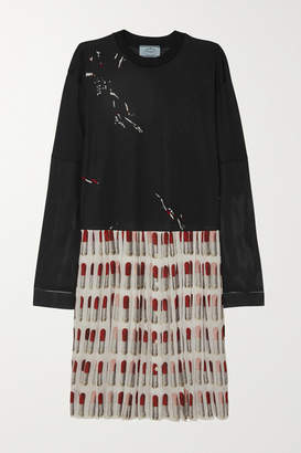 Prada Printed Cotton-jersey And Pleated Silk Crepe De Chine Dress - Black