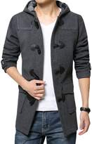 Chickle Men's Wool Blend Long Trench Toggle Coat with Hood M