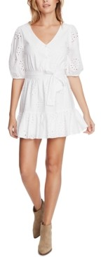 1 STATE Eyelet-Embroidered Ruffled-Hem Mini Dress