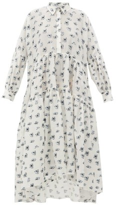 Cecilie Bahnsen Cleo Tiered Floral Fil-coupe Shirt Dress - White Multi