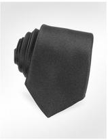 Solid Black Narrow Silk Tie