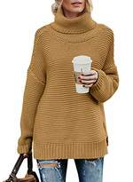 Actloe Women Casual Turtleneck Long Sleeve Chunky Knitted Pullover Sweaters
