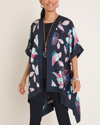 Travelers Collection Floral Scarf-Front Kimono Jacket