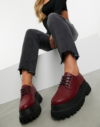 ASOS DESIGN Marcy chunky lace up flat shoes in burgundy