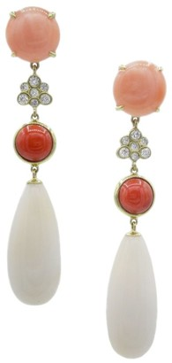 Ippolita Rock Candy 18K Yellow Gold, Coral & Diamond Starlet Cluster Drop Earrings