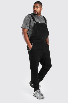 boohoo Mens Black Big And Tall Chain Detail Dungaree, Black
