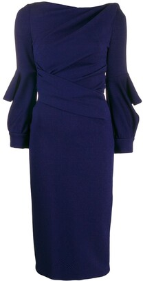 Talbot Runhof wrap-style fitted dress