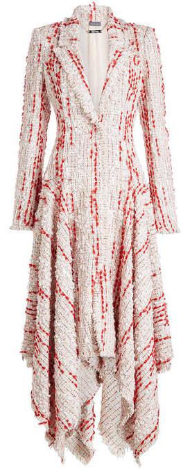 Alexander McQueen Tweed Coat with Cotton and Virgin Wool