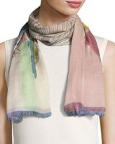 Valentino Garavani Garden of Delight Voile Shawl, Light Blue/Multicolor