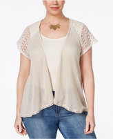Style&Co. Style & Co. Plus Size Crochet-Trim Open-Front Cardigan, Only at Macy's