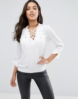 Lipsy Lace Up Front Blouse