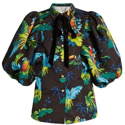MARC JACOBS, RUNWAY Marc Jacobs Runway - Tropical Bird-print Puff-sleeved Jacket - Black Multi