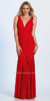 Dave and Johnny Plunging V-shape Fitted Lace Evening Dress