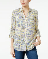 Charter Club Petite Plaid Roll-Tab Shirt, Only at Macy's