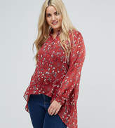 New Look Plus New Look Curve Dipped Hem Floral Printed Shirt