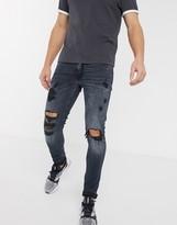Jack and Jones Intelligence skinny fit destroyed jeans in blue
