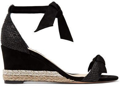 Alexandre Birman Clarita Bow-embellished Suede And Raffia Espadrille Wedge Sandals