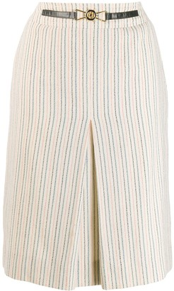 Céline Pre Owned Pre-Owned Front Pleat Midi Skirt