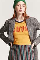 Forever 21 Cropped Love Graphic Ringer Tee