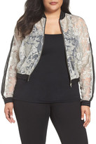 Elvi Sheer Lace Bomber Jacket (Plus Size)