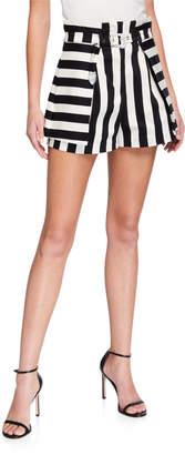 Pinko Brezel Belted Striped Shorts