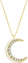 Bliss Gold & Cubic Zirconia Crescent Pendant Necklace