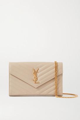 Saint Laurent Envelope Quilted Textured-leather Shoulder Bag - Off-white