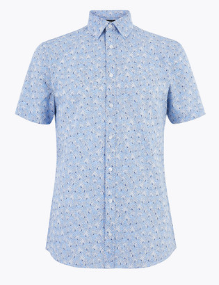 Marks and Spencer Cotton Rich Slim Floral Print Iron Shirt