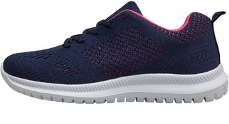 Board Angels Womens Fly Knit Trainers Navy/Pink