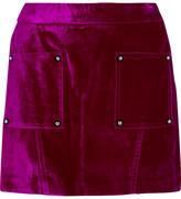 Opening Ceremony Croc-effect Cotton-blend Velvet Mini Skirt - Plum