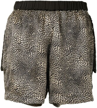 Lisa Von Tang Printed Side-Slit Shorts